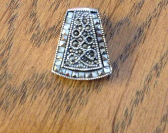 Sterling Silver and Marcasite Pendant or Slide