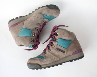 Retro Womens Merrell Lazer Hiking Boots Size 6.5 / Winter Shoes / Turquoise Gray Purple / Designer Brand/ Excellent Condition/ Cool Hipster