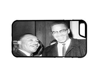 Dr Martin Luther King Jr & Malcolm X iPhone Galaxy Note LG HTC Protective Hybrid Rubber Hard Plastic Snap On Case Black