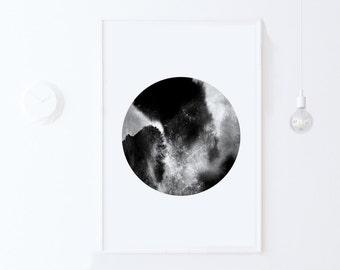Minimalist Poster, Circle Print Scandinavian Poster, Printable Art DIGITAL DOWNLOAD Black and White Poster, Circle Art, Large Digital Print