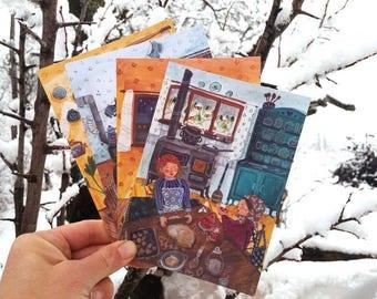Postcard 4 set 'Cosy winter'