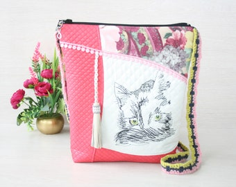 Crazy cat lady gift Cat bag Mothers day gift Pink crossbody bag with modern embroidery Cat lover gift Pet gift for daughter Embroidered bag