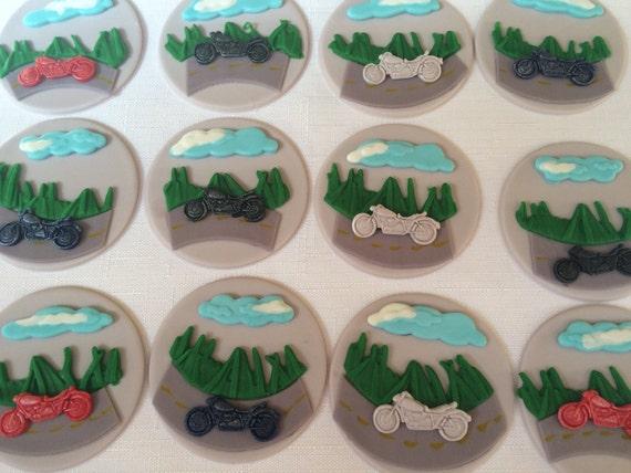12 motorcycle cupcake toppers edible fondant cupcake