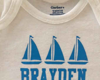 Personalized Baby Boy Onesie Bodysuit  Sail Boats  Long Sleeve