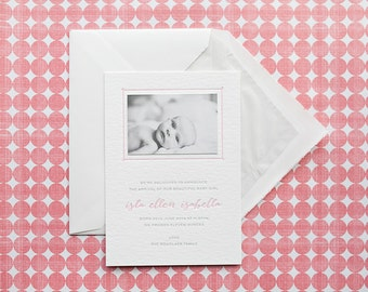 Personalised Calligraphy Letterpress Birth announcements, boy or girl