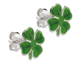 Lucky Four Leaf Clover St. Patrick Earrings in Silver and Enamel