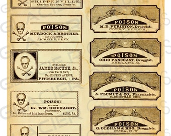 Blank Halloween Witch Poison Labels Digital Download Poison Bottle Jar Tags Vintage Style Image Clip Art Printable Potion Collage Sheet