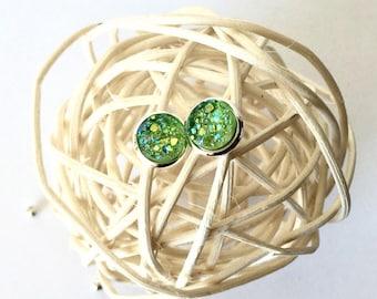 Green Druzy Earrings, Green Druzy Jewelry, Pantone Colour Greenery, Gemstone Earrings, Dainty Studs, Bridesmaid Gift, Spring Jewelry