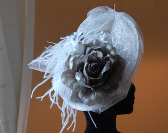 Fascinator, fascinator wedding gray beaded and silver for ceremony or cocktail party chic