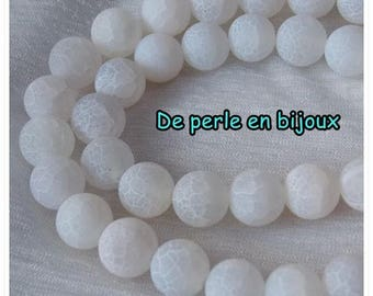 10pcs - choices: 6mm / 8mm / 10mm black Agate frosted white efflorescence bead semi precious stone bead round agate bead gemstone white Perle