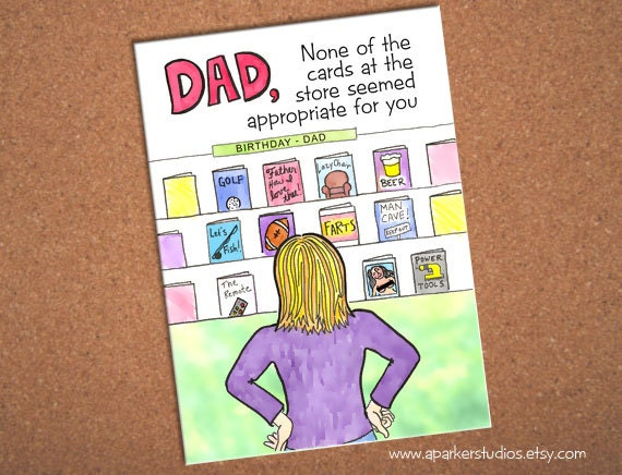 Cool Birthday Cards For Dad ~ Dad birthday card funny card for dad hand drawn card for