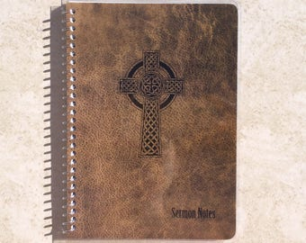 """Men's Sermon Notes w/ Leather Pattern Celtic Cross Cover ~ by Upward Journals (5"""" x 7"""") Personalized Text ~ Scripture Journal, Notebook"""