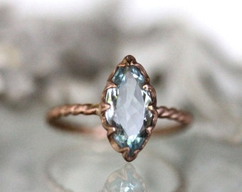 Summer Sale - Genuine Marquise Aquamarine 14K Gold Ring, Gemstone RIng, Marquise Shape Ring, Eco Friendly, Engagement Ring, Stacking - Custo