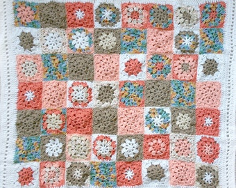 Crocheted Baby Blanket- Made To Order-Granny Squares- Apricot, White, Tan, Turquoise- Boy or Girl- Nursery Blanket