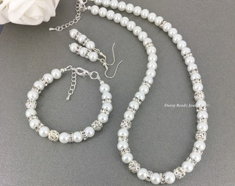 White Pearl Necklace Set Pearl Jewelry Gift for Bridesmaid  Rhinestones Necklace Bridesmaid Necklace Bridesmaid Gift
