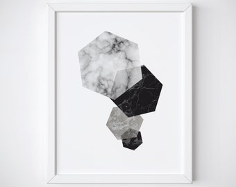 Geometric Print - Hexagon Print -Minimalist Art - Scandinavian Print - Marble Print - Black and white - Printable Prints - Grey Print
