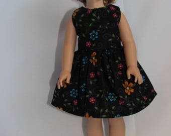 "14.5 inch doll clothes,black - flower print fabric,handmade sleeveless dress made to fit 14.5 inch American girl doll""wellie wisher"""