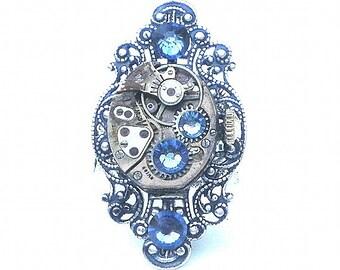 Stunning Steampunk Ring, Blue Swarovski Crystals