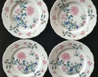 """Syracuse Diner Hotel Restaurant China 9"""" Winthrop shape Summerdale Luncheon Plates (Set of Four) in Excellent Condition"""