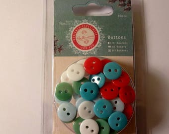 Assortment of 30 colorful buttons - Scrapbook - embellishment