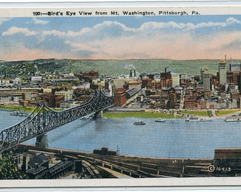 Panorama Pittsburgh Pennsylvania 1930s postcard