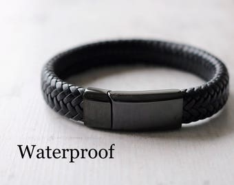 Black on Black Bracelet - Waterproof Bracelet - Boyfriend Gift
