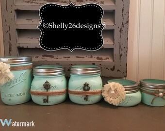 Mason jar vanity set, housewarming gift, decorative mason jars, farmhouse decor, rustic decor, makeup set, cosmetic holder, bathroom jars