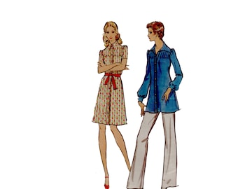 60s Puffy Sleeve Dress pattern Pointy Collar Dress pattern Shirtdress pattern vintage 34-25.5-36 Vogue 8272