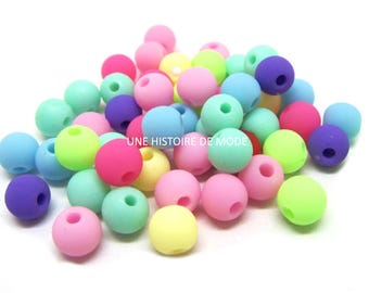50 multicolored 6 mm - 6mm beads - silicone - silicone beads