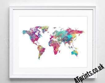 World map canvas etsy watercolor poster print watercolour print wall art canvas gift idea gumiabroncs Image collections