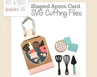 SVG Cutting Files: Shaped Apron Card, Apron Card SVG, Baking SVG