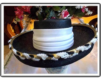 Vintage Black Hat w White Hatband and Trimmed Brim by Whitall and Shon- H-078a-091414005