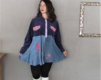 duster jacket upcycled Bohemian winter clothing Romantic Boho 2 X Gypsy overcoat Eco reclaimed denim sustainable clothing LillieNoraDryGoods