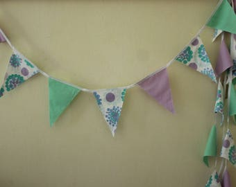 Flag Bunting, Party Flags, Vintage Fabric Garland, Mint, Lavender and White Party Bunting