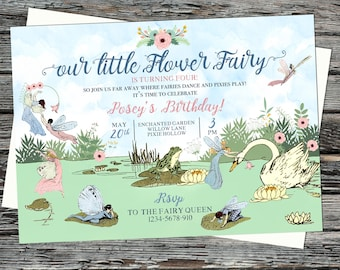Personalised enchanting, magical fairy birthday party invitation, garden forest, swans, wishing pond, pink floral, flower fairies, vintage