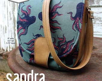 Swoon Patterns: Sandra Saddle Bag - PDF Vintage Purse Crossbody Handbag Sewing Pattern
