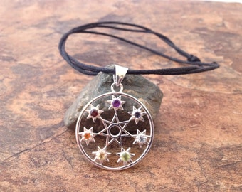 "Waxed Cotton Cord ""Septagram or The Fairy Stars"" chakra silver pendant necklace with sliding knots"