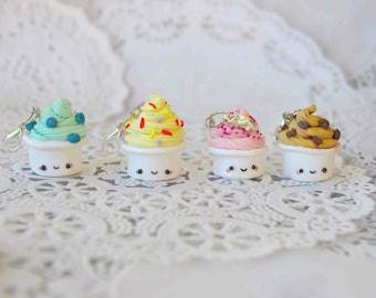 Frozen Yogurt Froyo Jewelry Keychain Polymer Clay Charm Dollhouse Miniature (BOGO SALE! see description for FREEBIE!)