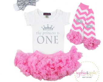 First Birthday Outfit, 1st Birthday Outfit Girl, One Birthday, Girls Silver Pink Birthday, Birthday Princess, Pink Tutu