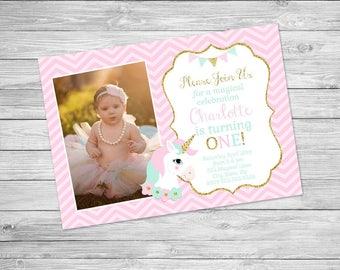 Unicorn Birthday Invitation Printable - Unicorn Birthday Party Invite, Invitation, Magical, Unicorn, Pink, Gold Mint - Magical Birthday