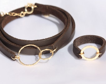 Brown Leather Cuff -  Thin Leather Bracelets Adjustable Leather Wristband and Ring For Women 14k Gold Filled Clasp  - Genuine Leather