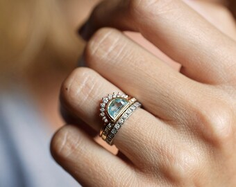 Aquamarine ring, Half Moon Aquamarine Ring, Crescent Ring, Waterfall Ring, Blue Engagament Ring, Unique Wedding Ring, Modern Engagement Ring