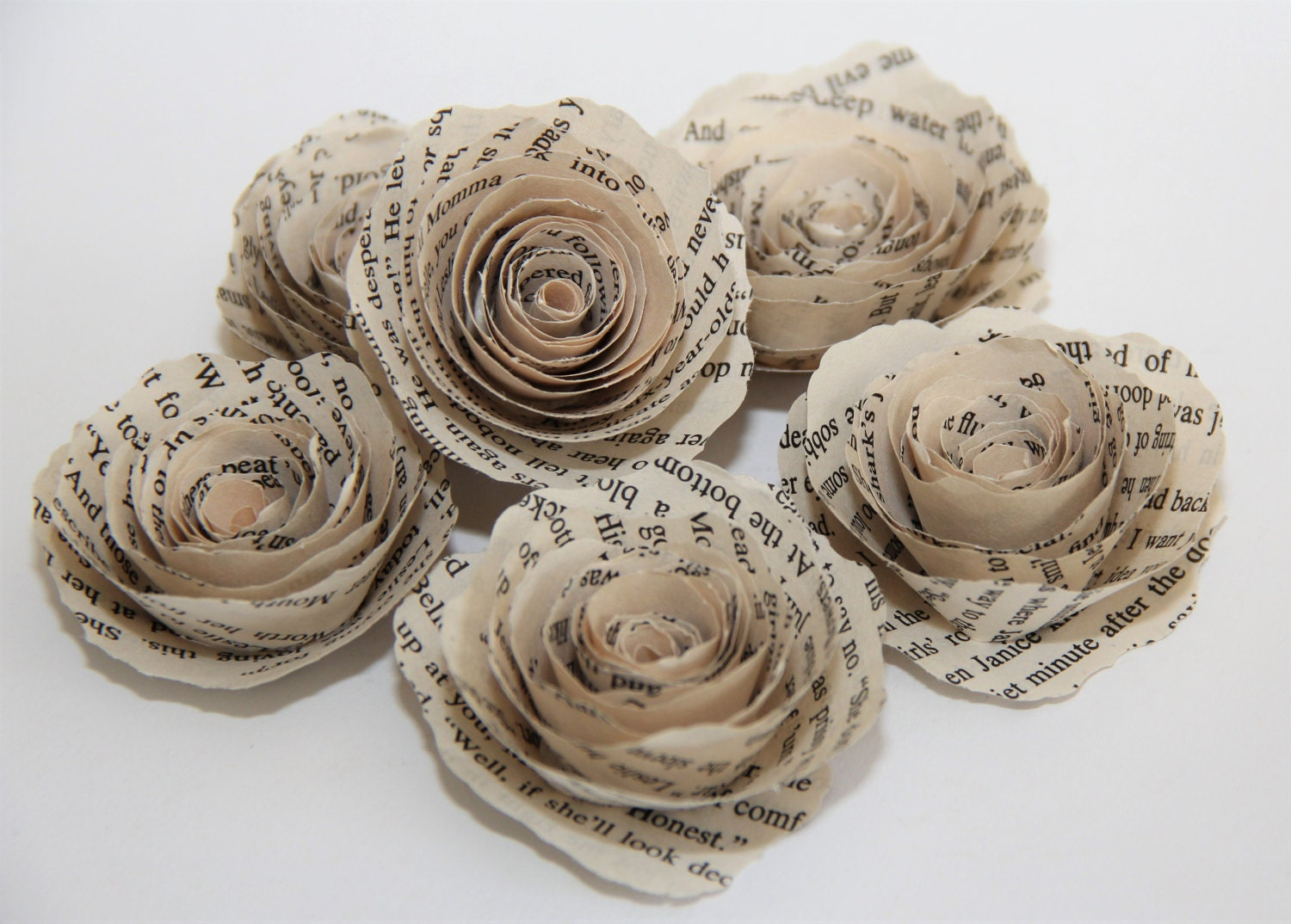 6 Spiral Paper Flowers Vintage Book Page Paper Flowers For