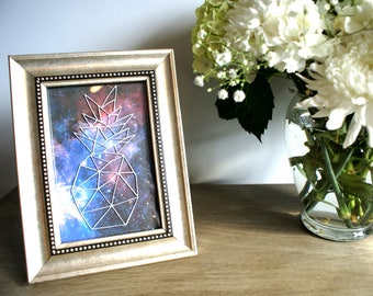Geometric Pineapple Galaxy Framed Art