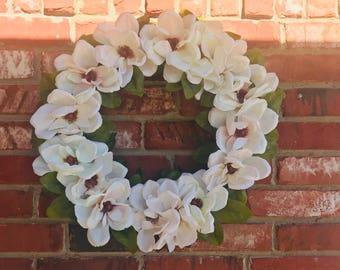Magnolia Wreath, Spring Wreath, Summer Wreath, All Year Round Wreath,Farm House Wreath