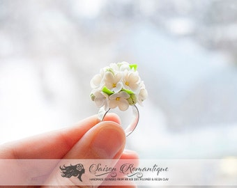 Ring White Lilac Syringa - Polymer Clay Flowers - Mothers Day Gift for Women Stud Earrings Pink Earrings Gift For Her Flower Ring Lilac Ring