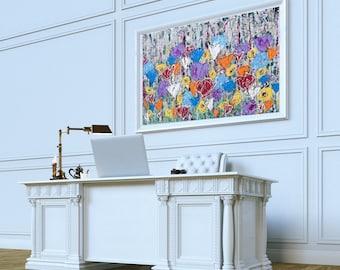 Abstract Flower Art, Abstract Flowers, Abstract Flower Art Print, Modern Contemporary Flower Art, Flower Wall Art, Colorful Flower Art