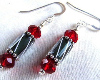 Cane Glass and Crystal Beaded Dangle Earrings in Sterling Silver and Silver Plate