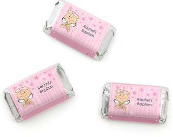 Angel Baby Girl Mini Candy Bar Wrappers - Personalized Baptism and Baby Shower Party Hershey® Miniature Candy Bar Sticker Labels - 20 Ct