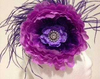 Big Flower Feather Headband Fascinator, Feather Headband, Lavender Headband, Pink Flower Headband, White Flower Headband, Pageant Headband